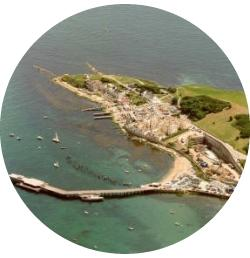 Swanage Piers from the air.